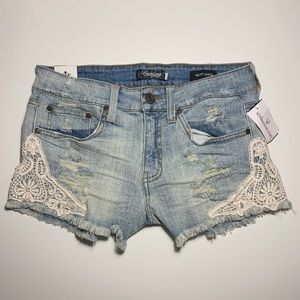 Windsor Eunina Distressed Mid Rise Jean Shorts